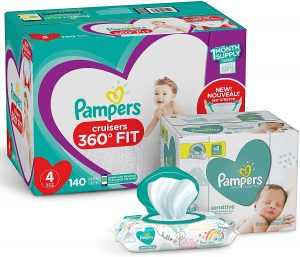 Pampers Pull On Diapers Size 4 and Baby Wipes