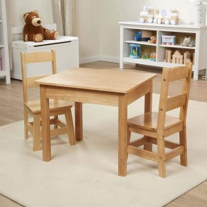 3-Piece Table and Chairs Set Natural Wood