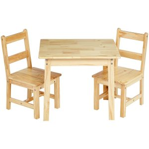 Amazon Natural Solid Wood Table & 2 Chair