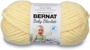 Bernat Super Bulky Baby Blanket, Yellow Yarn