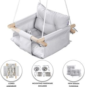 Cateam Hanging Canvas Wooden Swing