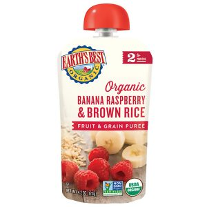 Earth's Best Organic Stage 2, Banana, Raspeberry & Brown Rice