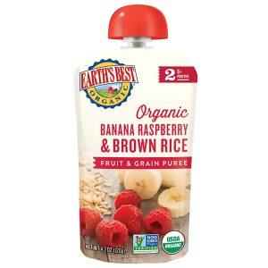 Earth's Best Organic Stage 2, Banana, Raspeberry & Brown Rice