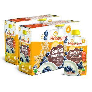 Happy Tot Organic Stage 4 Super Morning Organic Bananas Blueberries Yogurt & Oats + Super Chia
