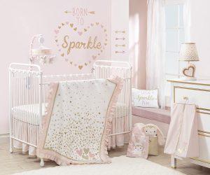 Lambs & Ivy Confetti Heart 4 Piece Crib Bedding Set