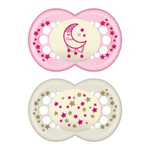 MAM Pack Of 2 Glow In The Dark Pacifiers