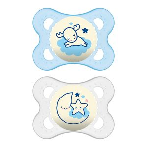 MAM Pack Of 2 Glow In the Dark Night Pacifiers