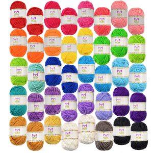 Mira HandCrafts 40 Colorful Yarn Skeins Best Yarn For Baby Blanket