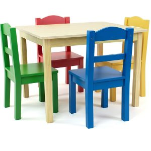 Natural Wood Table And 4 Chair Set For Kids
