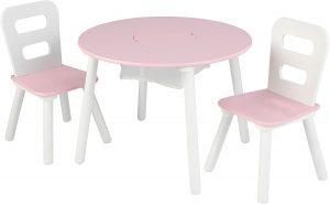 Pink-White Round Wooden